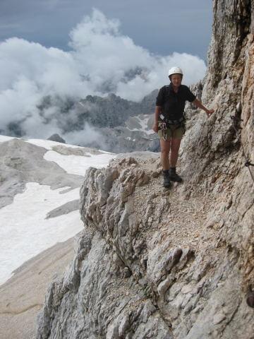 Foto: Wolfgang Lauschensky / Klettersteig Tour / Triglav Überschreitung Bambergweg - Ostgrat / in der Gipfelwand / 11.09.2009 20:45:24