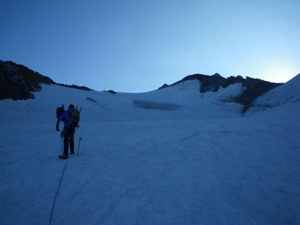 Foto: Thomas Paschinger / Wander Tour / Hintere Schwärze, Marzellspitzen, Similaun und Finailspitze / im oberen Bereich der Rampe / 13.09.2009 15:11:58