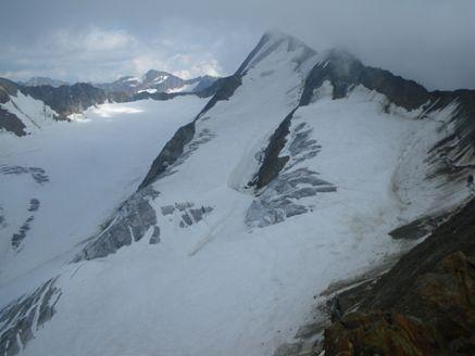 Foto: Thomas Paschinger / Wander Tour / Hintere Schwärze, Marzellspitzen, Similaun und Finailspitze / die Rampe zur Hinteren Schwärze = Aufstiegsweg / 13.09.2009 15:17:00