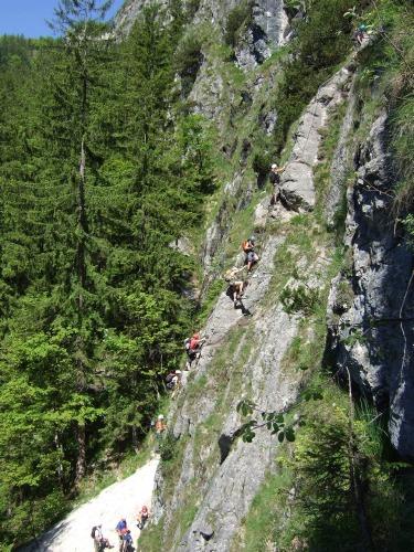 Foto: hofchri / Klettersteig Tour / Grünstein Klettersteig / Blick auf die Isidor-Variante - Viel Verkehr auf unserer Vereinstour, was? / 15.06.2010 20:35:34