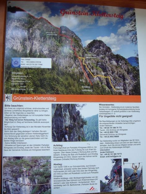 Foto: Manfred Karl / Klettersteig Tour / Grünstein Klettersteig / Infotafel bei der Abzweigung zum Einstieg / 17.09.2009 20:12:21