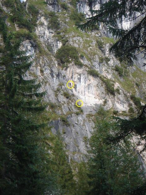 Foto: Manfred Karl / Klettersteig Tour / Grünstein Klettersteig / Zwei Begeher am Isidorsteig / 17.09.2009 20:03:36