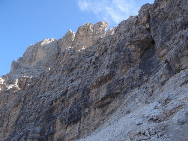 Foto: Manfred Karl / Klettersteig Tour / Tomaselli Klettersteig (Via ferrata Cesco Tomaselli) / Einstiegswand / 17.09.2009 22:22:43