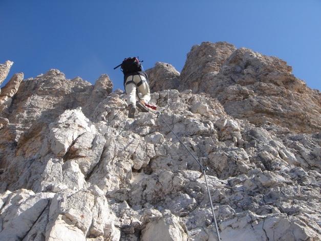 Foto: Manfred Karl / Klettersteig Tour / Tomaselli Klettersteig (Via ferrata Cesco Tomaselli) / Griffiger Fels oberhalb der Kanzel / 17.09.2009 22:19:21