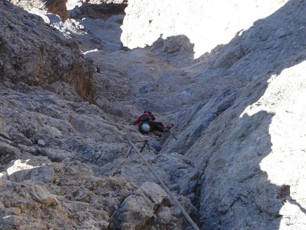 Foto: Manfred Karl / Klettersteig Tour / Tomaselli Klettersteig (Via ferrata Cesco Tomaselli) / Verschneidung zur Schlusswand / 17.09.2009 22:18:16