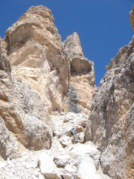 Foto: Manfred Karl / Klettersteig Tour / Tomaselli Klettersteig (Via ferrata Cesco Tomaselli) / Abstiegsrinne / 17.09.2009 22:11:49