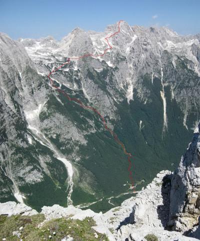 Foto: Wolfgang Lauschensky / Wander Tour / Skrlatica 2740m / Anstiegsweg vom Cmir aus gesehen / 20.09.2009 21:30:40