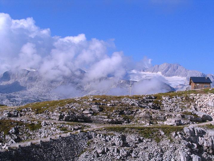 Foto: Andreas Koller / Klettersteig Tour / Kuckucksnest Klettersteig am Krippenstein (2108m) / Der Dachstein ist von Wolken umhüllt / 21.09.2009 02:03:34