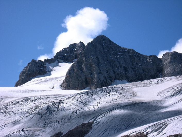 Foto: Andreas Koller / Klettersteig Tour / Monisteig am Schöberl (2426m) / Der Hohe Dachstein mit dem Hallstätter Gletscher (2996 m) / 26.09.2009 00:01:05