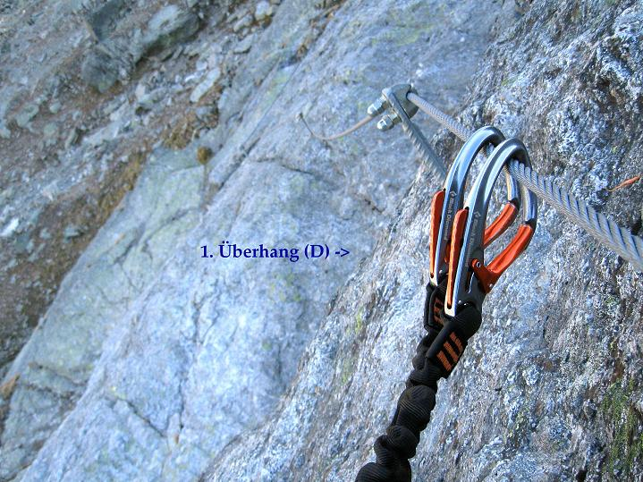 Foto: Andreas Koller / Klettersteig Tour / Klettersteig Silvapark (2671 m) / Nach dem 1. Überhang / 10.10.2009 14:38:13