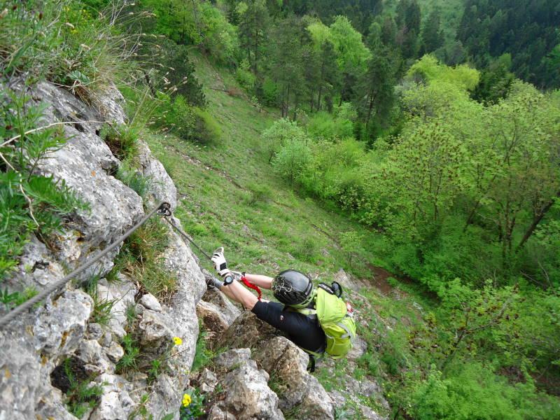 Foto: Günter Siegl / Klettersteig Tour / Ganghofersteig (826m) / Schlüsselstelle / 03.05.2014 21:05:23