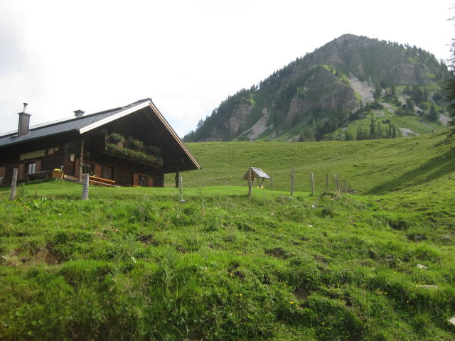 Foto: Wolfgang Lauschensky / Wander Tour / Holzeck - Königsberghorn / Genneralm und Holzeck: in der linken Rinne führt der steile Steig / 17.10.2009 16:02:24