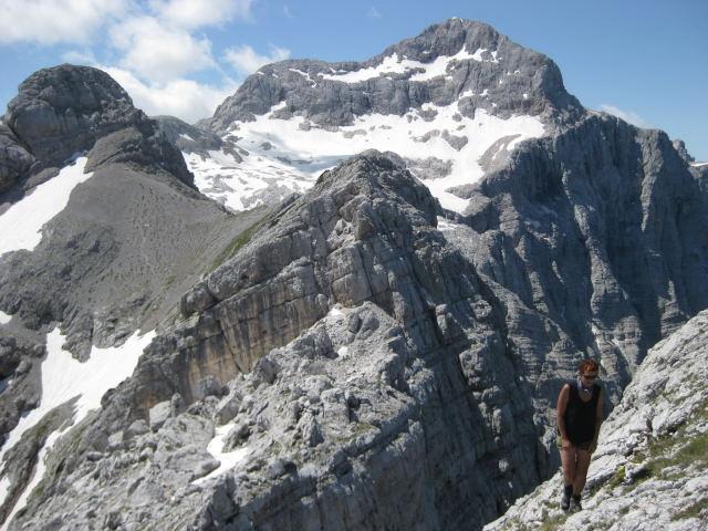 Foto: Wolfgang Lauschensky / Wander Tour / Cmir (2393m) / Triglavblick am Cmirgrat, links der Begunjski vrh / 17.10.2009 18:40:34