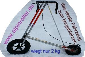 Foto: bergsepp / Mountainbike Tour / Bergwandertouren mit dem Alpinroller in Bergbahnnähe,  mind. ein 3 Tageskurs zum anlernen / bergauf leicht zu tragen und abwärts wieder schnell zusammengebaut / 18.10.2009 15:45:10