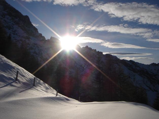Foto: Manfred Karl / Ski Tour / Eckerleiten - Purtschellerhaus / Sonnenuntergang am Mannlgrat / 25.10.2009 16:38:06