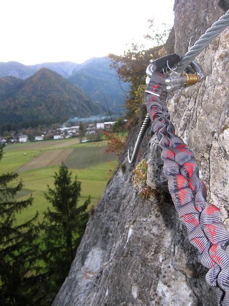 Foto: Andreas Koller / Klettersteig Tour / Koflwand Klettersteig (680 m) / Luftige Querung in der Plattenwand / 26.10.2009 16:12:15