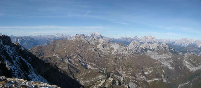 Foto: Wolfgang Lauschensky / Wander Tour / Monte Pelf 2502m / klingendes Nordpanorama: Marmolada - Civetta - Tofane - Monte Pelmo - Cristallo - Antelao / 31.10.2009 14:15:52