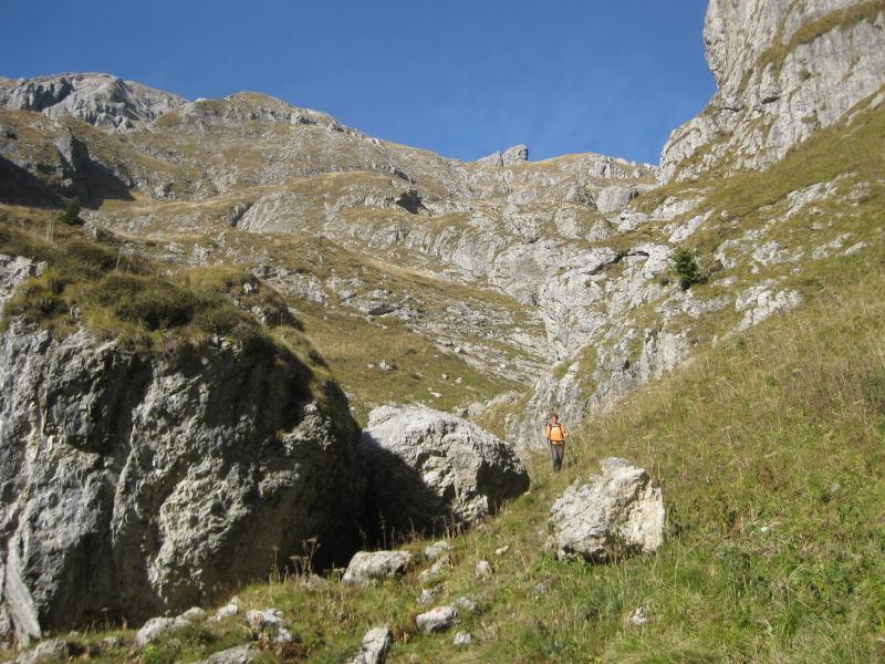 Foto: Wolfgang Lauschensky / Wander Tour / Monte Pelf 2502m / Südflanke des Monte Pelf: grasig mit schrofigen Unterbrechungen / 31.10.2009 14:15:07