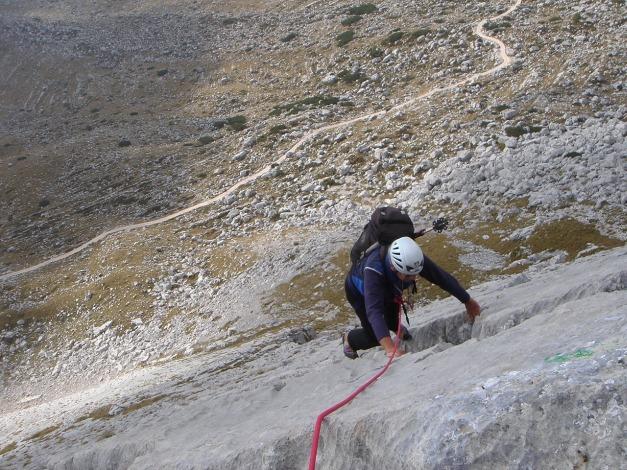 Foto: Manfred Karl / Kletter Tour / Seekofel Südwand, Via Classica / Im Riss vor dem Plattenspitz / 27.11.2009 21:54:44