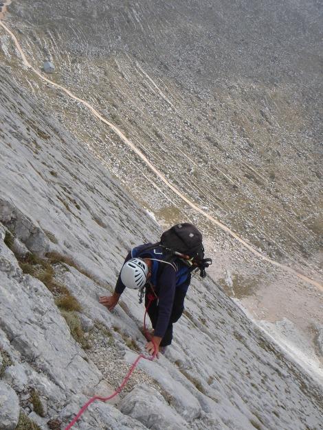 Foto: Manfred Karl / Kletter Tour / Seekofel Südwand, Via Classica / Letzte Seillänge / 26.11.2009 20:37:15