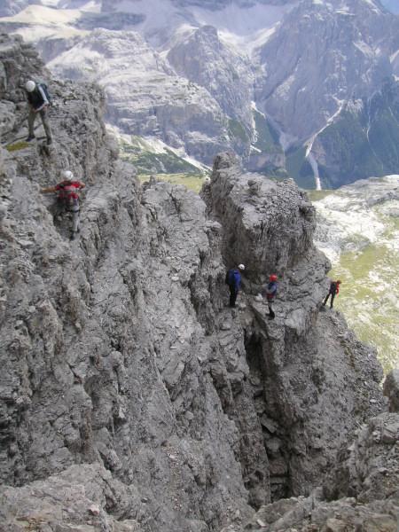 Foto: Wolfgang Lauschensky / Kletter Tour / Große Zinne Südwand - Normalweg / gestufter Ausstieg auf das Terrassenband / 30.11.2009 14:27:10