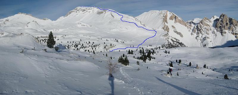 Foto: Wolfgang Lauschensky / Ski Tour / Sass dles Nö oder Neuner 2968m (Vorgipfel 2874m) / Zehner, Neuner, Fanessattelspitze, Eisengabelspitzen vom Limojoch aus gesehen / 11.12.2009 20:23:10