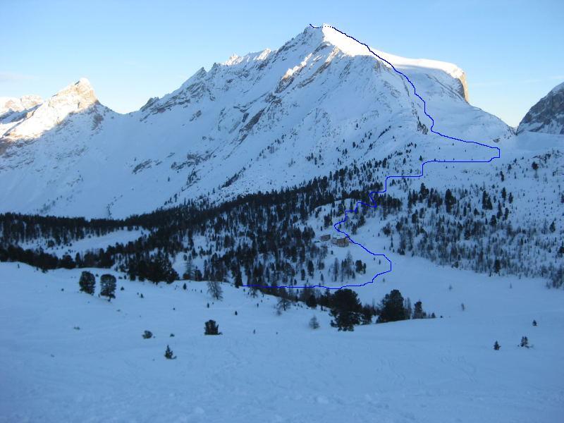 Foto: Wolfgang Lauschensky / Ski Tour / Pareispitze oder Col Bechei Dessora 2794m / Anstieg von der Faneshütte zur Pareispitze / 12.12.2009 12:07:02