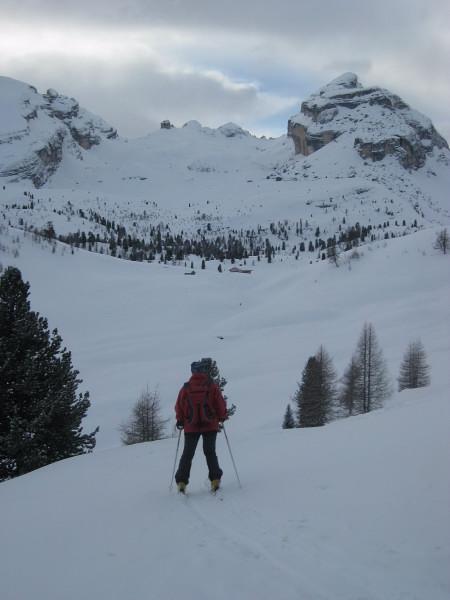 Foto: Wolfgang Lauschensky / Ski Tour / Monte Casale 2707m (oder Bivaccio di Monte Castello) / Abfahrt vom Limojoch zur Großfanesalm / 12.12.2009 14:53:02