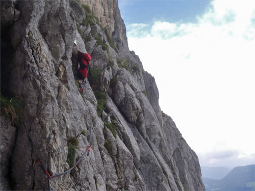 Foto: schrutkaBua / Kletter Tour / Stubwieswipfel SO-Wand / Quergang - Schlüsselstelle / 12.12.2009 15:29:11
