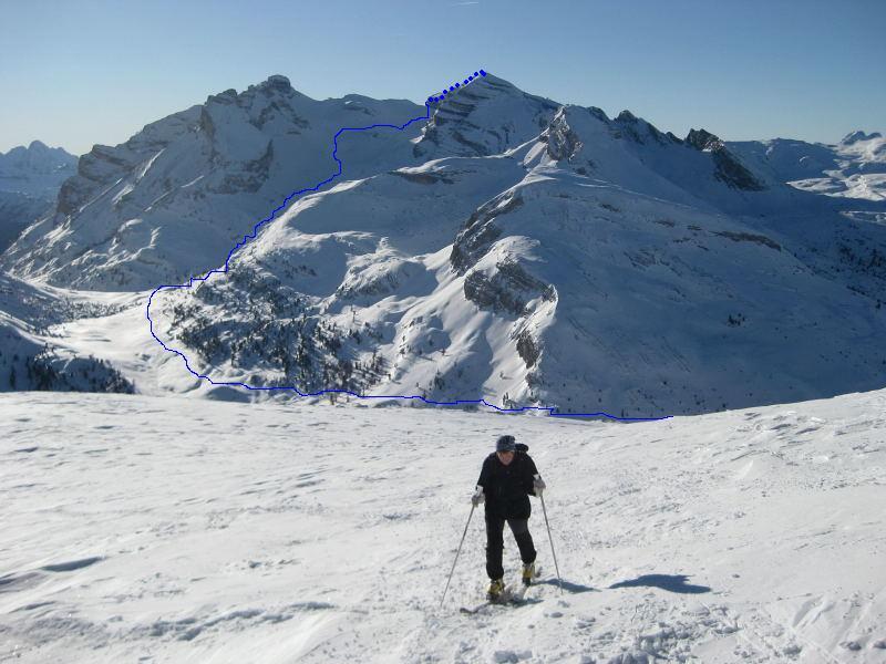 Foto: Wolfgang Lauschensky / Ski Tour / Lavarella 3055m (La Varella) / Lavarella gegenüber dem Limojoch / 12.12.2009 16:53:40