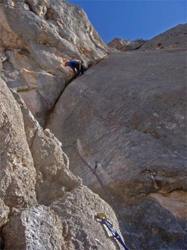 Foto: schrutkaBua / Kletter Tour / Rote Wand, Winterfit / Riss der zweiten Seillänge / 12.12.2009 17:06:58