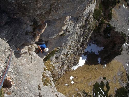 Foto: schrutkaBua / Kletter Tour / Rote Wand, Winterfit / Ausstiegsseillänge / 12.12.2009 17:06:06