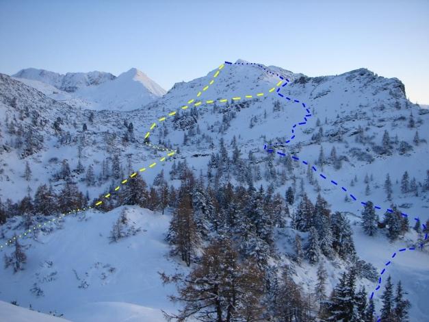 Foto: Manfred Karl / Ski Tour / Von Zauchensee auf das Tagweideck / Blau: Aufstieg und Abfahrt; Gelb: Variante / 17.12.2009 20:22:46