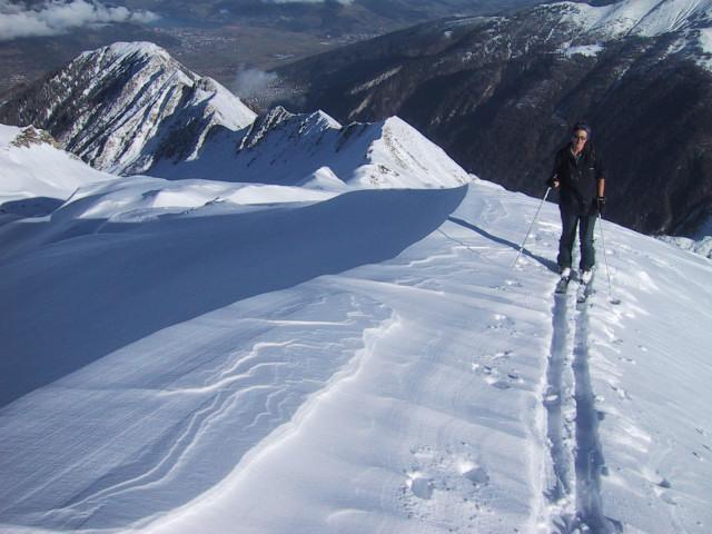 Foto: Wolfgang Lauschensky / Ski Tour / Tristkogel 2642m / Rücken zum steilen Gipfelhang / 24.12.2009 17:29:42