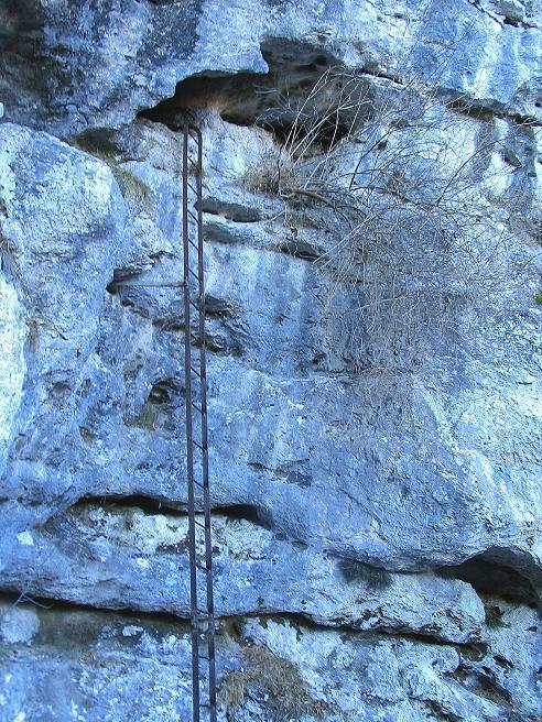 Foto: Andreas Koller / Klettersteigtour / Rudolf-Decker-Steig (720 m) / Die lange Leiter zum Windschützenloch / 27.12.2009 01:50:41