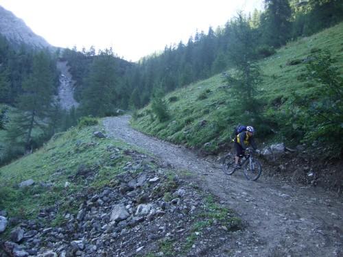 Foto: hofchri / Mountainbike Tour / Rund um das Sonnjoch über Lamsen- (1953 m) und Plumsjoch (1664 m) / weiter auf steiler Schotterstraße / 01.01.2010 12:08:10