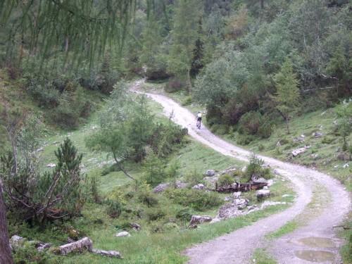 Foto: hofchri / Mountainbike Tour / Rund um das Sonnjoch über Lamsen- (1953 m) und Plumsjoch (1664 m) / steile Auffahrt zur Lamsenjochhütte / 01.01.2010 12:04:37