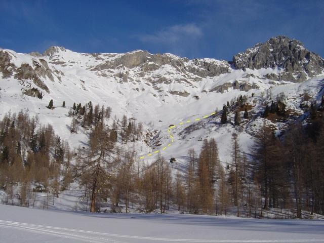 Foto: Manfred Karl / Ski Tour / Karkopf von der Muhreralm / Anstiegslinie zum Karkopf / 03.01.2010 17:30:21