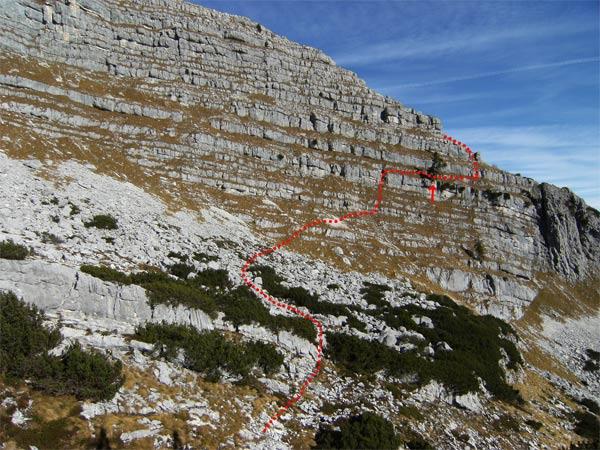 Foto: schrutkaBua / Wander Tour / Ramesch (2.119m) - Ost/West-Überschreitung / Übersichtsfoto, Ostgrat von der Zwischenstation des Sesselliftes / 05.01.2010 16:39:27