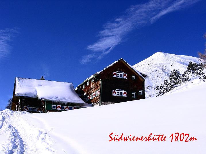 Foto: Andreas Koller / Ski Tour / Traumtour auf Spirzinger und Spazeck (2066 m) / Ankunft bei der Südwiener Hütte mit Spirzinger / 06.01.2010 02:16:48
