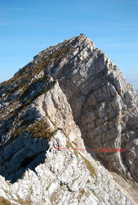 Foto: schrutkaBua / Wander Tour / Pyhrgas-Überschreitung / Rückblick auf den kleinen Pyhrgas mit Abkletterstelle (Schlüsselstelle). / 06.01.2010 19:53:32
