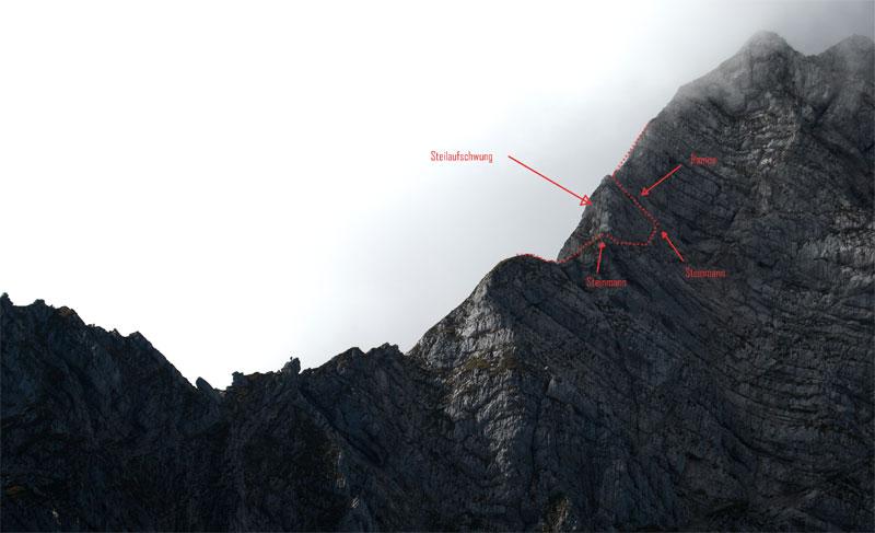 Foto: schrutkaBua / Wander Tour / Pyhrgas-Überschreitung / Übersicht Steilaufschwung Großer Pyhrgas Ostgrat. / 06.01.2010 19:52:50