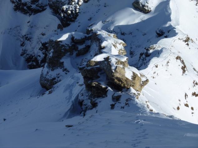 Foto: Manfred Karl / Ski Tour / Zwillingswand, 2518 m / Rechts unten die Einfahrt in die Rothenkarrinne / 22.01.2013 20:30:55