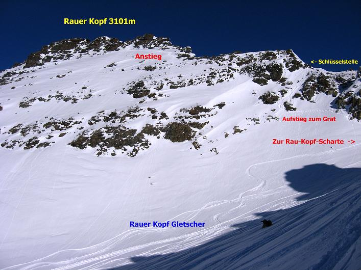 Foto: Andreas Koller / Skitour / Durch das Bieltal auf den Rauen Kopf (3101 m) / Rückblick zum Rauen Kopf / 26.01.2010 00:14:32