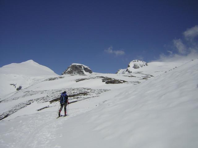 Foto: Wolfgang Lauschensky / Skitour / Johannisberg (3453m) und Hohe Riffl (3338m) / südl. Bockkarkees vom Wasserfallwinkel. Johannisberg, Mittlerer und Hoher Burgstall / 28.03.2010 17:29:31