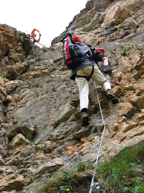 Foto: Andreas Koller / Klettersteigtour / Rosskopf Klettersteig und Rofanspitze (2259 m) / Der schwierigste Teil des Klettersteigs bereits zu Beginn / 14.07.2010 15:00:42
