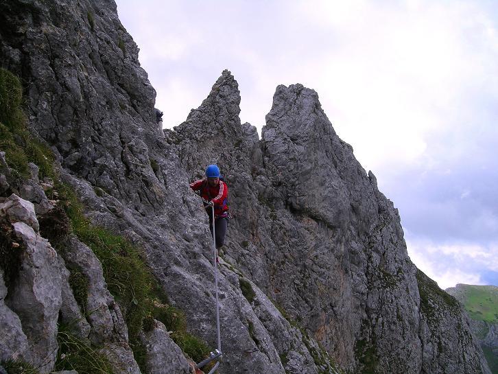 Foto: Andreas Koller / Klettersteigtour / Rosskopf Klettersteig und Rofanspitze (2259 m) / Versichert auch im Abstieg vom Rosskopf / 14.07.2010 14:56:51