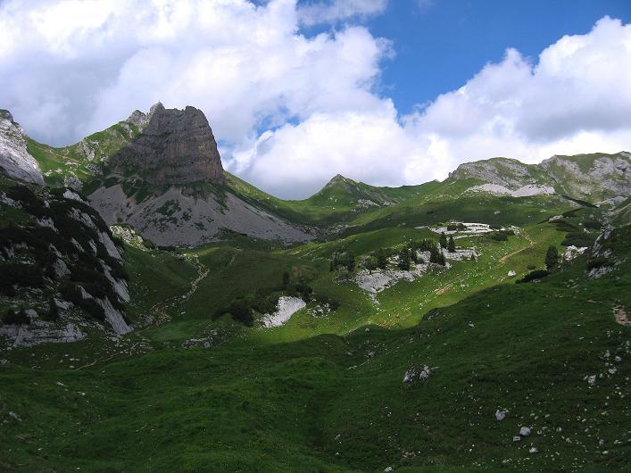 Foto: Andreas Koller / Klettersteigtour / Rosskopf Klettersteig und Rofanspitze (2259 m) / Rückblick zum Rosskopf / 14.07.2010 14:53:33