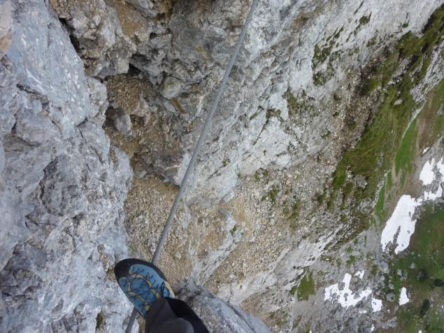 Foto: Manfred Karl / Klettersteig Tour / Haidachstellwand, Hans Obholzer Gedächtnissteig / Seilbrücke / 27.09.2012 22:03:25