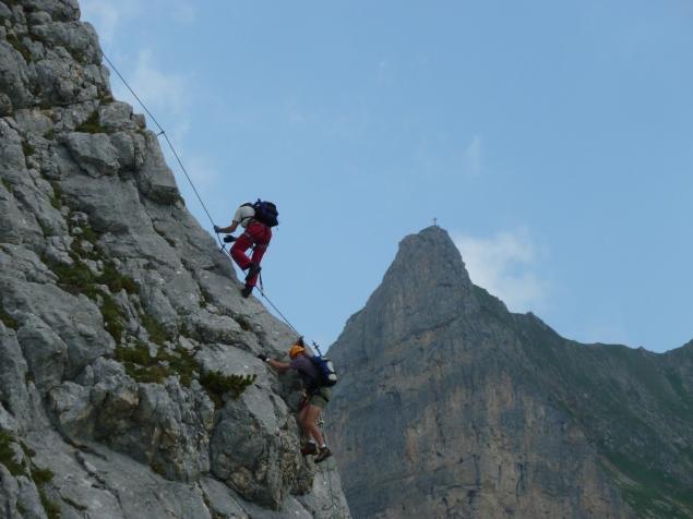 Foto: Manfred Karl / Klettersteig Tour / Haidachstellwand, Hans Obholzer Gedächtnissteig / Beim Einstieg des Klettersteiges / 27.09.2012 22:00:51